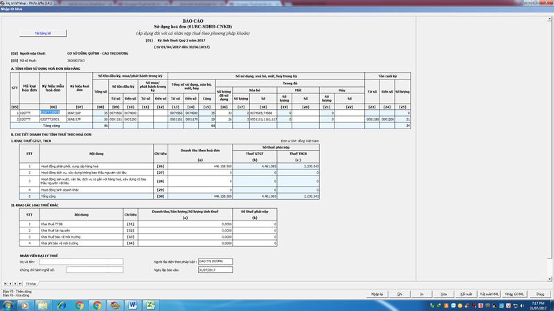Hàng quý, hộ cá nhân nộp mẫu báo cáo tình hình sử dụng hoá đơn cho chi cục thuế dựa vào doanh thu hoá đơn suất ra